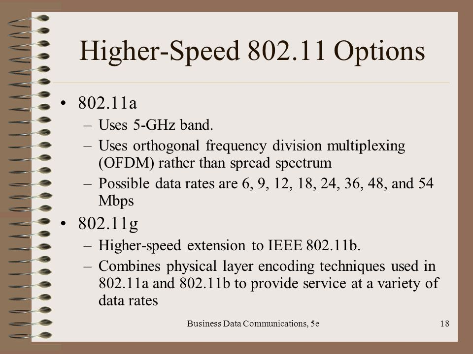 Business Data Communications, 5e18 Higher-Speed Options a –Uses 5-GHz band.