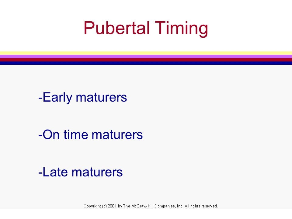 Pubertal Timing -Early maturers -On time maturers -Late maturers