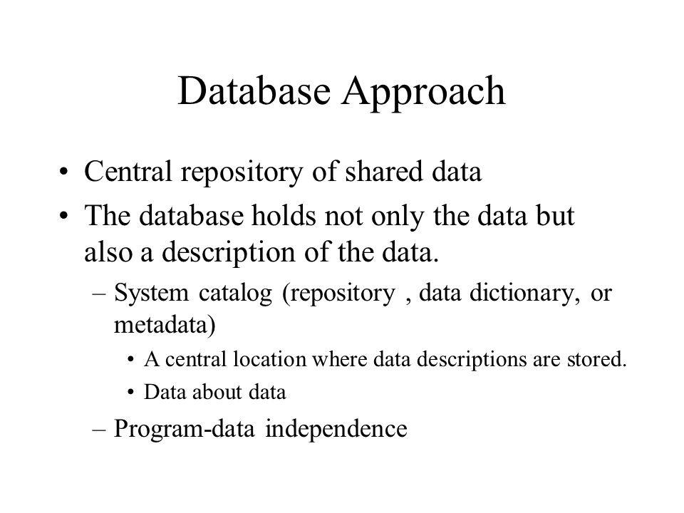 Database Approach Central repository of shared data The database holds not only the data but also a description of the data.