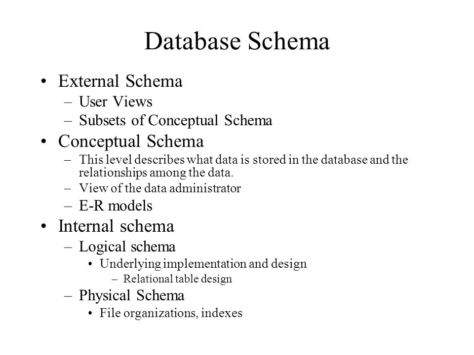Database Schema External Schema –User Views –Subsets of Conceptual Schema Conceptual Schema –This level describes what data is stored in the database and the relationships among the data.