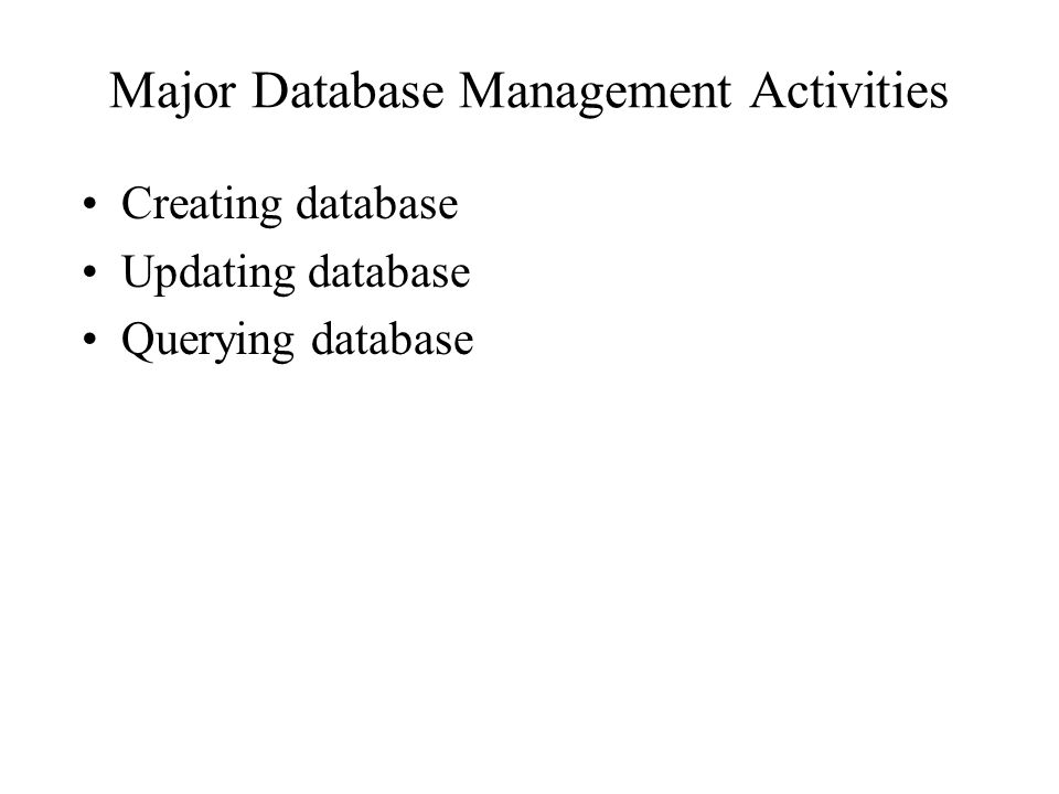 Major Database Management Activities Creating database Updating database Querying database