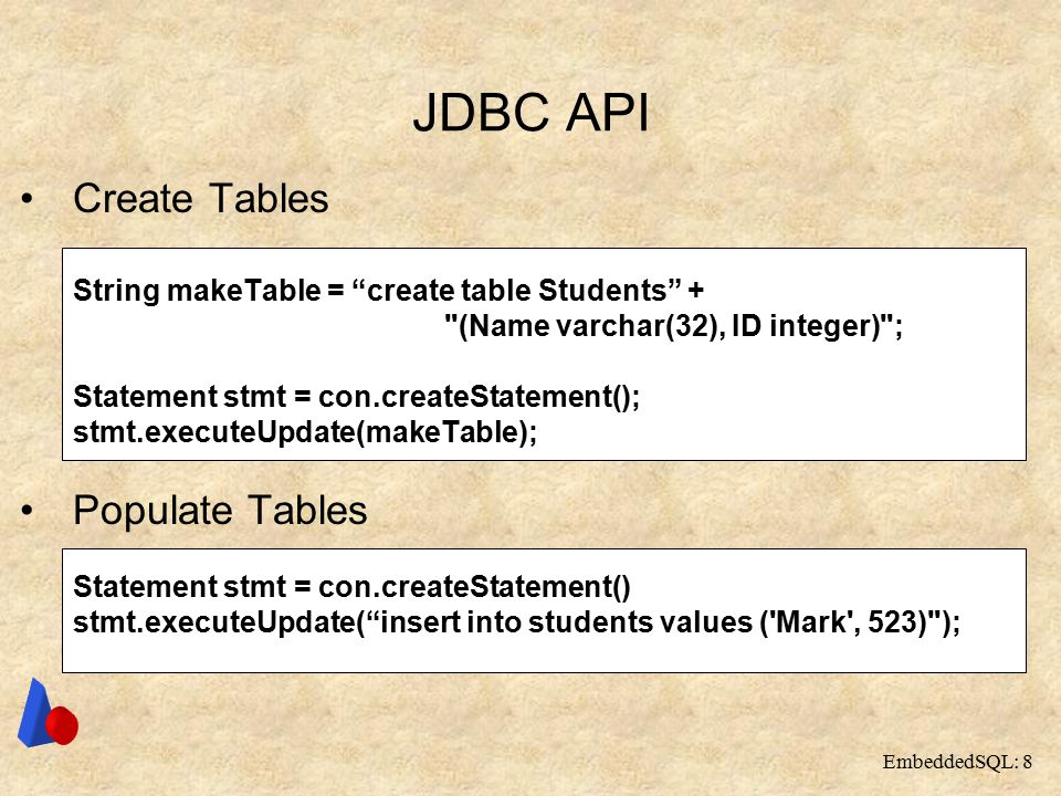 EmbeddedSQL: 8 JDBC API Create Tables String makeTable = create table Students + (Name varchar(32), ID integer) ; Statement stmt = con.createStatement(); stmt.executeUpdate(makeTable); Populate Tables Statement stmt = con.createStatement() stmt.executeUpdate( insert into students values ( Mark , 523) );