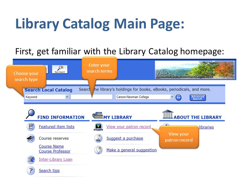 Library Catalog Main Page: First, get familiar with the Library Catalog homepage: Enter your search terms Choose your search type View your patron record