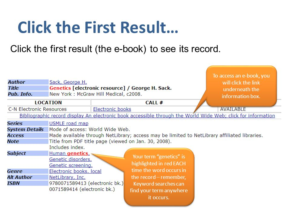 Click the First Result… Click the first result (the e-book) to see its record.