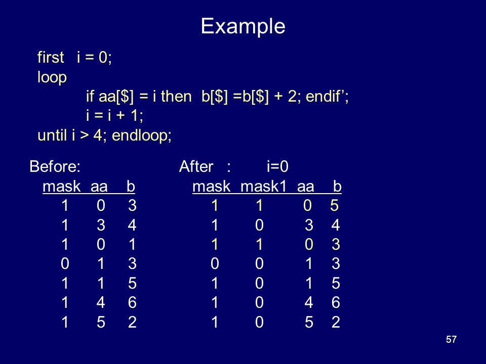 57 Example Before: mask aa b 1 0 3 1 3 4 1 0 1 0 1 3 1 1 5 1 4 6 1 5 2 After : i=0 mask mask1 aa b 1 1 0 5 1 0 3 4 1 1 0 3 0 0 1 3 1 0 1 5 1 0 4 6 1 0 5 2 first i = 0; loop if aa[$] = i then b[$] =b[$] + 2; endif'; i = i + 1; until i > 4; endloop;