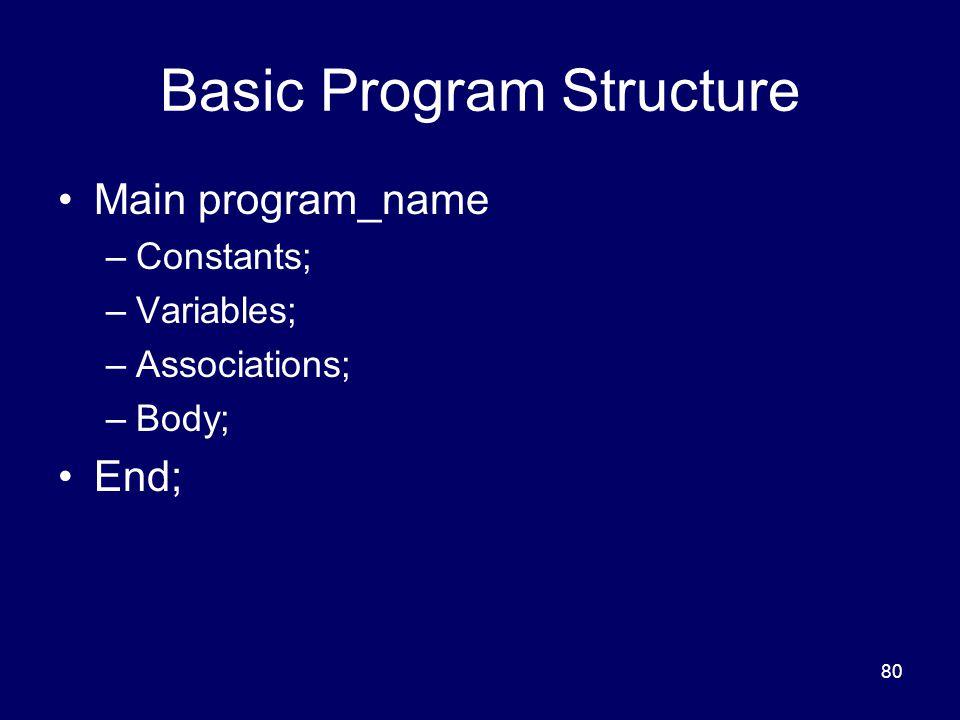 80 Basic Program Structure Main program_name –Constants; –Variables; –Associations; –Body; End;