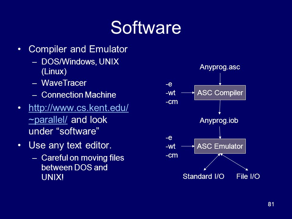 81 Software Compiler and Emulator –DOS/Windows, UNIX (Linux) –WaveTracer –Connection Machine http://www.cs.kent.edu/ ~parallel/ and look under software http://www.cs.kent.edu/ ~parallel/ Use any text editor.