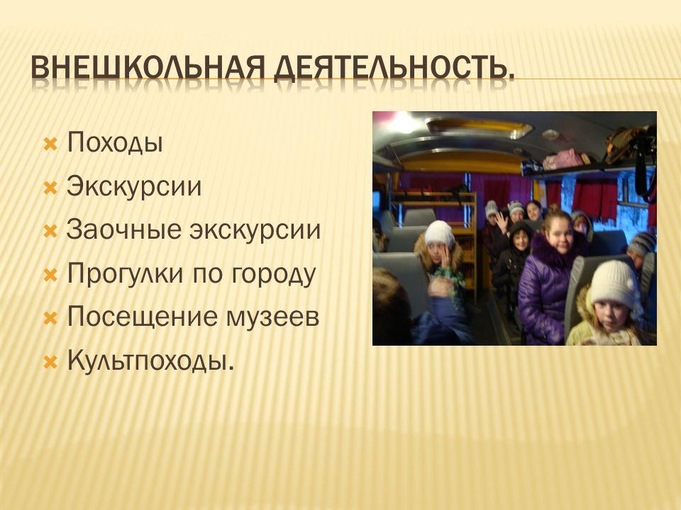  Походы  Экскурсии  Заочные экскурсии  Прогулки по городу  Посещение музеев  Культпоходы.