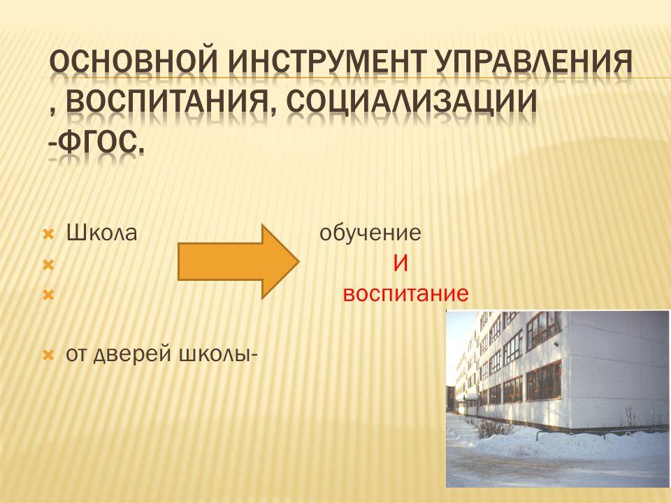  Школа обучение  И  воспитание  от дверей школы-
