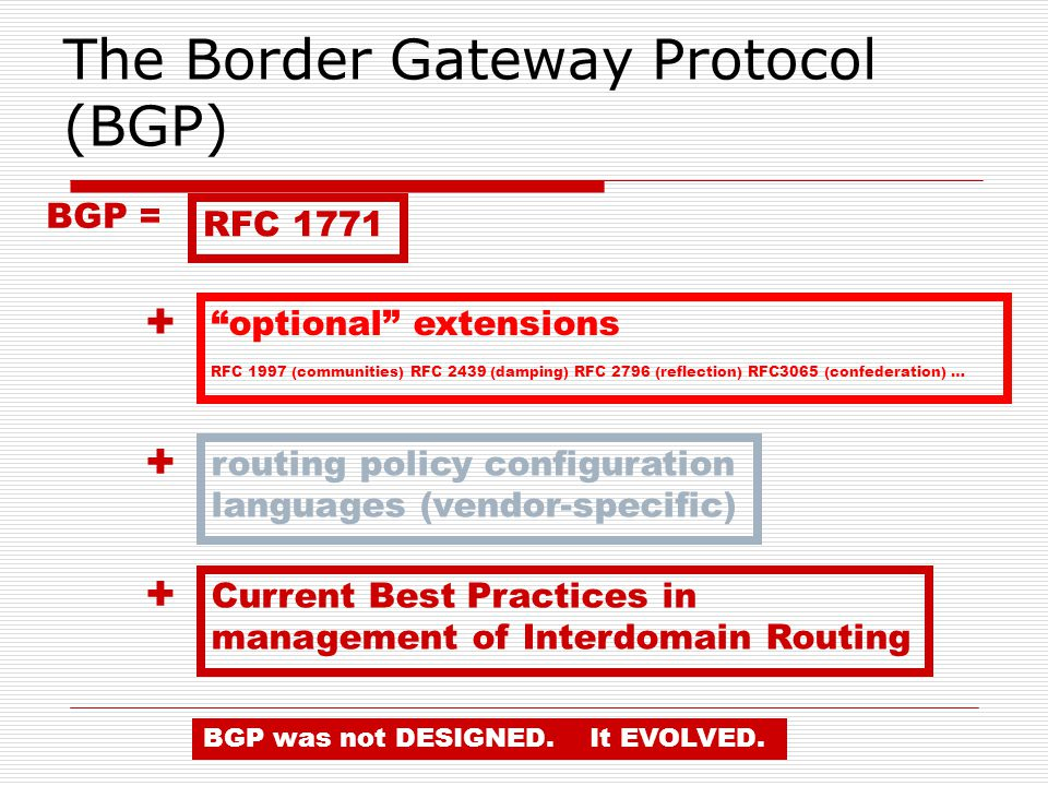BGP = RFC optional extensions RFC 1997 (communities) RFC 2439 (damping) RFC 2796 (reflection) RFC3065 (confederation) … + routing policy configuration languages (vendor-specific) + Current Best Practices in management of Interdomain Routing BGP was not DESIGNED.