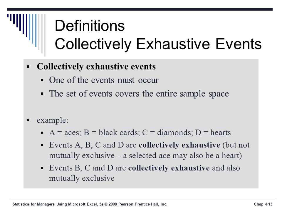 Statistics for Managers Using Microsoft Excel, 5e © 2008 Pearson Prentice-Hall, Inc.Chap 4-13 Definitions Collectively Exhaustive Events  Collectively exhaustive events  One of the events must occur  The set of events covers the entire sample space  example:  A = aces; B = black cards; C = diamonds; D = hearts  Events A, B, C and D are collectively exhaustive (but not mutually exclusive – a selected ace may also be a heart)  Events B, C and D are collectively exhaustive and also mutually exclusive