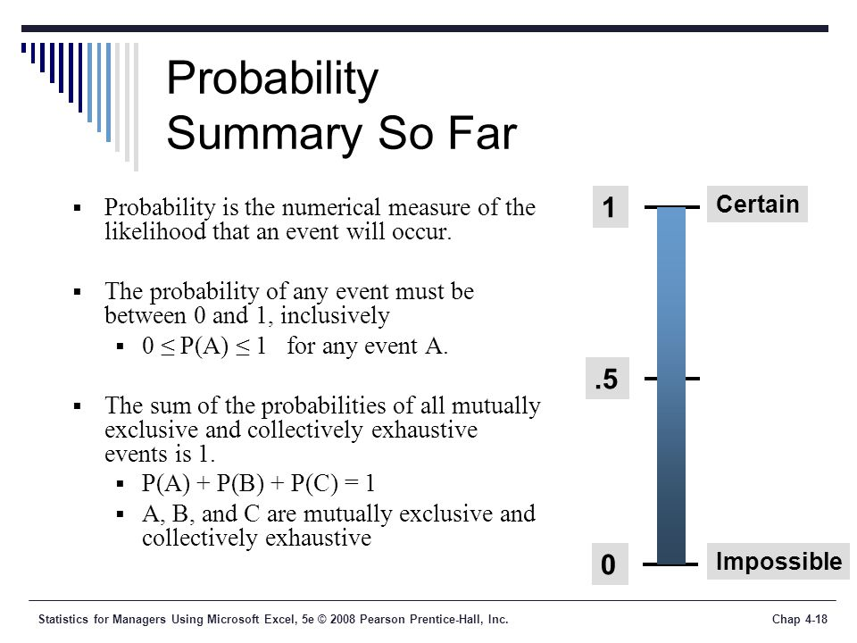 Statistics for Managers Using Microsoft Excel, 5e © 2008 Pearson Prentice-Hall, Inc.Chap 4-18 Probability Summary So Far  Probability is the numerical measure of the likelihood that an event will occur.