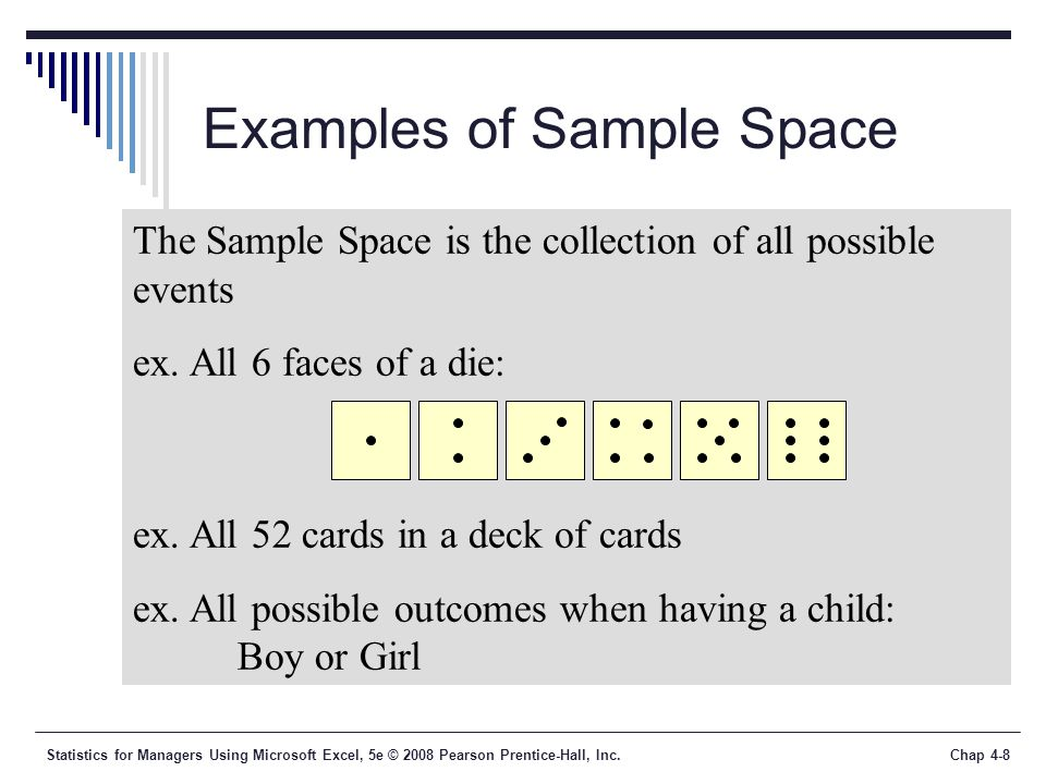 Statistics for Managers Using Microsoft Excel, 5e © 2008 Pearson Prentice-Hall, Inc.Chap 4-8 Examples of Sample Space The Sample Space is the collection of all possible events ex.