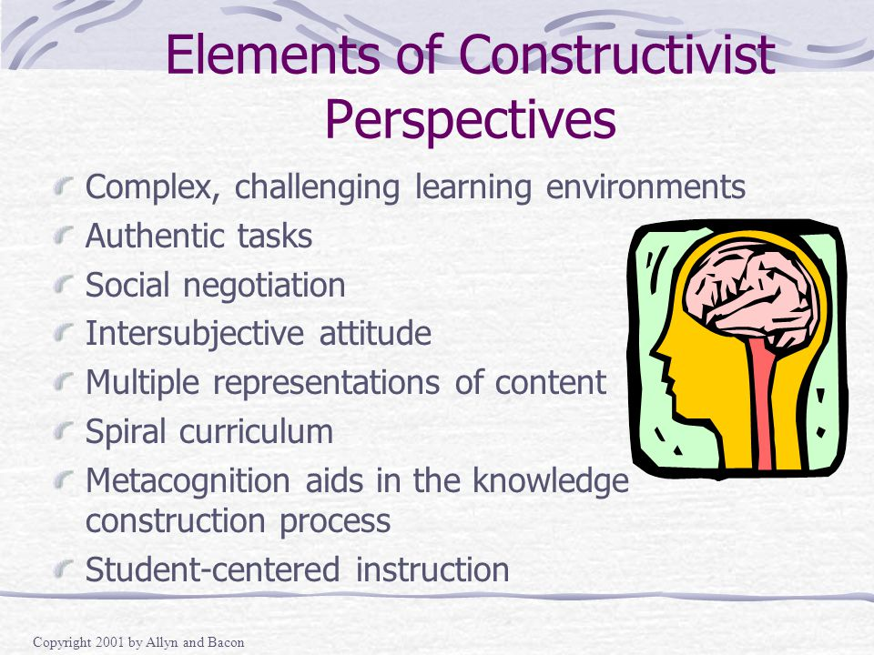 Copyright 2001 by Allyn and Bacon Elements of Constructivist Perspectives Complex, challenging learning environments Authentic tasks Social negotiation Intersubjective attitude Multiple representations of content Spiral curriculum Metacognition aids in the knowledge construction process Student-centered instruction