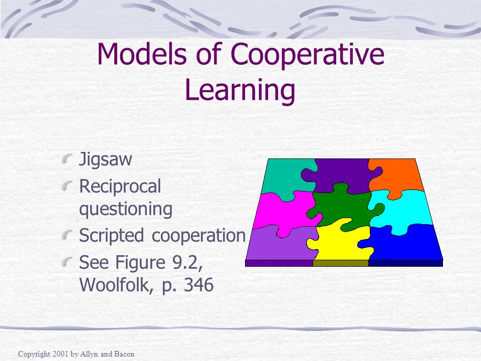 Copyright 2001 by Allyn and Bacon Models of Cooperative Learning Jigsaw Reciprocal questioning Scripted cooperation See Figure 9.2, Woolfolk, p.