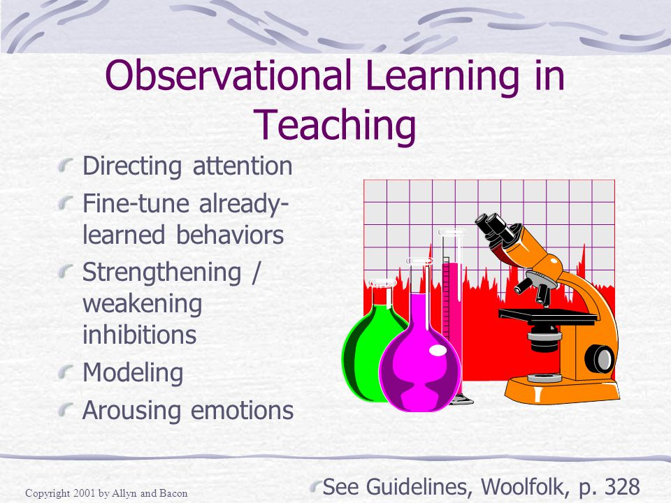 Copyright 2001 by Allyn and Bacon Observational Learning in Teaching Directing attention Fine-tune already- learned behaviors Strengthening / weakening inhibitions Modeling Arousing emotions See Guidelines, Woolfolk, p.