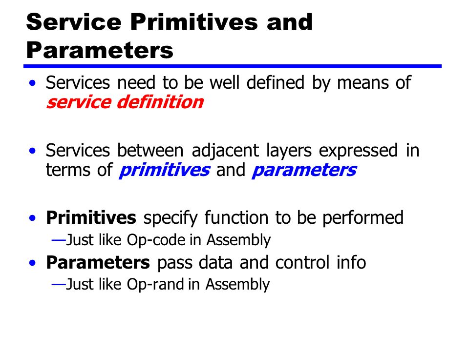 Service Primitives and Parameters Services need to be well defined by means of service definition Services between adjacent layers expressed in terms of primitives and parameters Primitives specify function to be performed —Just like Op-code in Assembly Parameters pass data and control info —Just like Op-rand in Assembly