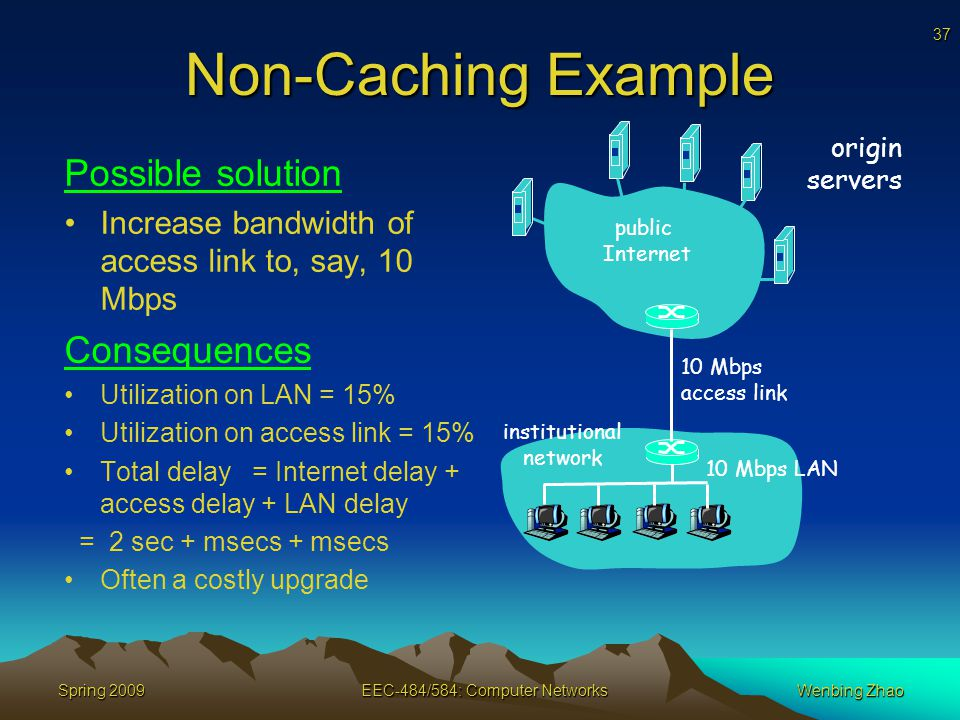 37 Spring 2009EEC-484/584: Computer NetworksWenbing Zhao Non-Caching Example Possible solution Increase bandwidth of access link to, say, 10 Mbps Consequences Utilization on LAN = 15% Utilization on access link = 15% Total delay = Internet delay + access delay + LAN delay = 2 sec + msecs + msecs Often a costly upgrade origin servers public Internet institutional network 10 Mbps LAN 10 Mbps access link