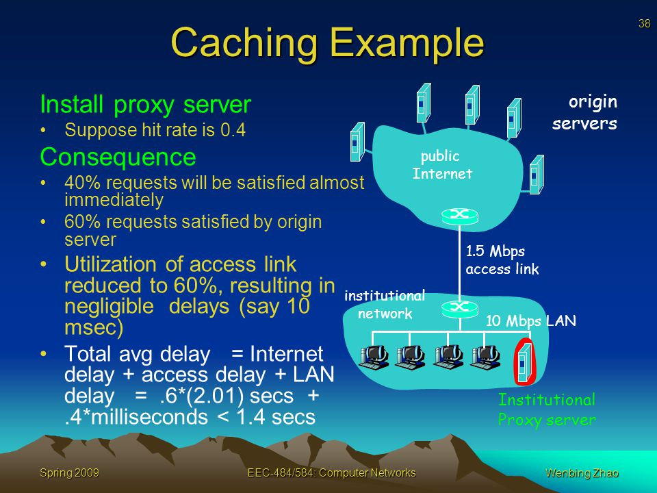 38 Spring 2009EEC-484/584: Computer NetworksWenbing Zhao Caching Example Install proxy server Suppose hit rate is 0.4 Consequence 40% requests will be satisfied almost immediately 60% requests satisfied by origin server Utilization of access link reduced to 60%, resulting in negligible delays (say 10 msec) Total avg delay = Internet delay + access delay + LAN delay =.6*(2.01) secs +.4*milliseconds < 1.4 secs origin servers public Internet institutional network 10 Mbps LAN 1.5 Mbps access link Institutional Proxy server