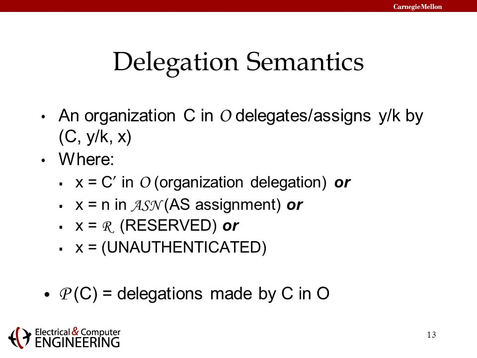 13 Delegation Semantics An organization C in O delegates/assigns y/k by (C, y/k, x) Where:  x = C ' in O (organization delegation) or  x = n in ASN (AS assignment) or  x = R (RESERVED) or  x = (UNAUTHENTICATED) P (C) = delegations made by C in O