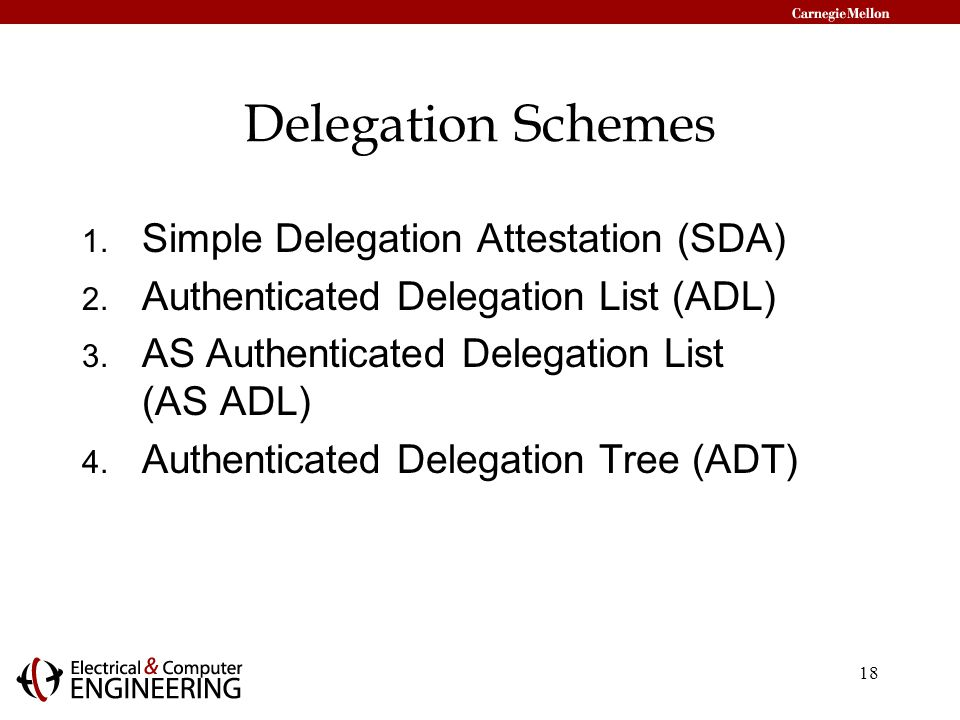 18 Delegation Schemes 1. Simple Delegation Attestation (SDA) 2.