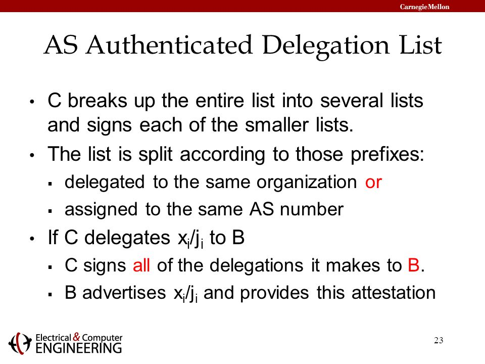 23 AS Authenticated Delegation List C breaks up the entire list into several lists and signs each of the smaller lists.