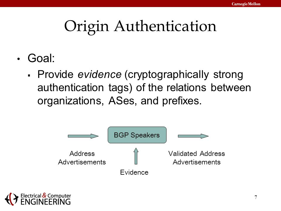7 Origin Authentication Goal:  Provide evidence (cryptographically strong authentication tags) of the relations between organizations, ASes, and prefixes.