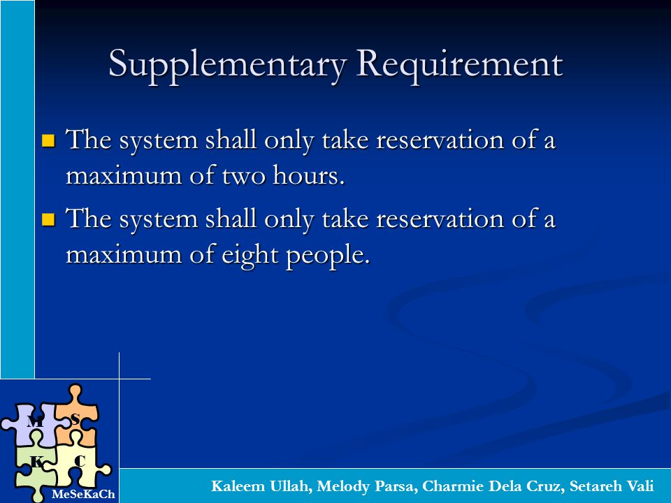 Kaleem Ullah, Melody Parsa, Charmie Dela Cruz, Setareh Vali S C K M Supplementary Requirement The system shall only take reservation of a maximum of two hours.