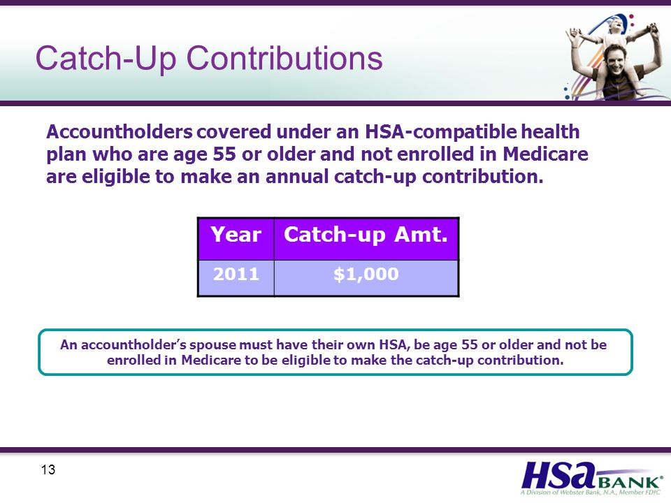 13 Catch-Up Contributions Accountholders covered under an HSA-compatible health plan who are age 55 or older and not enrolled in Medicare are eligible to make an annual catch-up contribution.