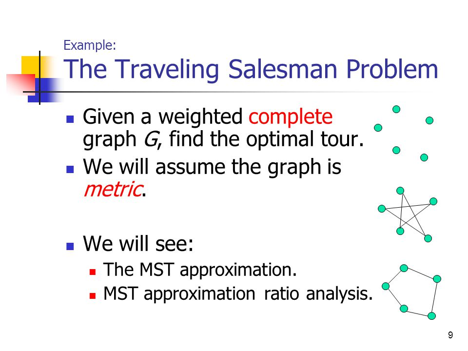 9 Example: The Traveling Salesman Problem Given a weighted complete graph G, find the optimal tour.