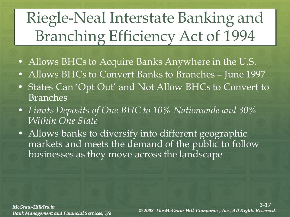 3-17 McGraw-Hill/Irwin Bank Management and Financial Services, 7/e © 2008 The McGraw-Hill Companies, Inc., All Rights Reserved.
