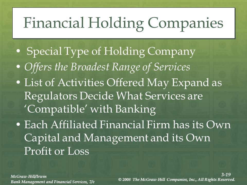3-19 McGraw-Hill/Irwin Bank Management and Financial Services, 7/e © 2008 The McGraw-Hill Companies, Inc., All Rights Reserved.
