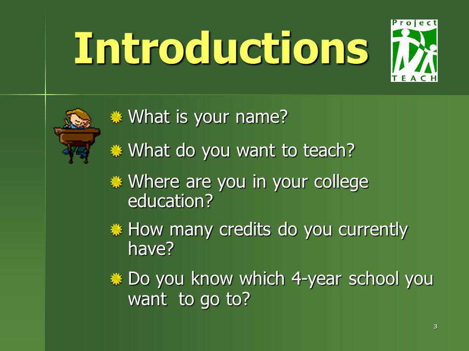 3 Introductions What is your name. What do you want to teach.