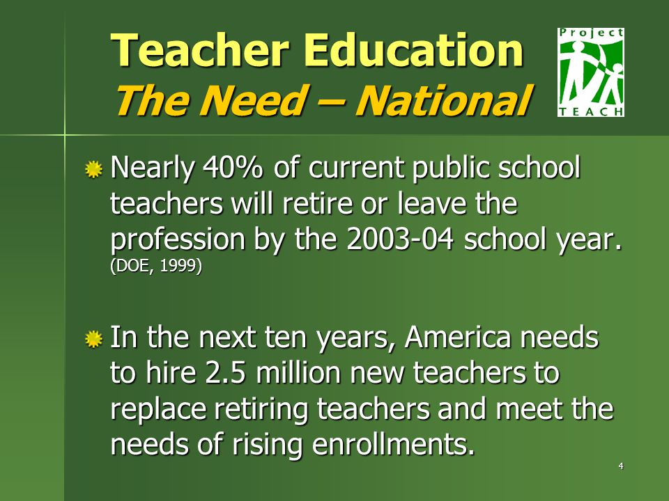 4 Teacher Education The Need – National Nearly 40% of current public school teachers will retire or leave the profession by the school year.