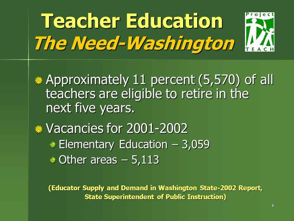 6 Teacher Education The Need-Washington Approximately 11 percent (5,570) of all teachers are eligible to retire in the next five years.