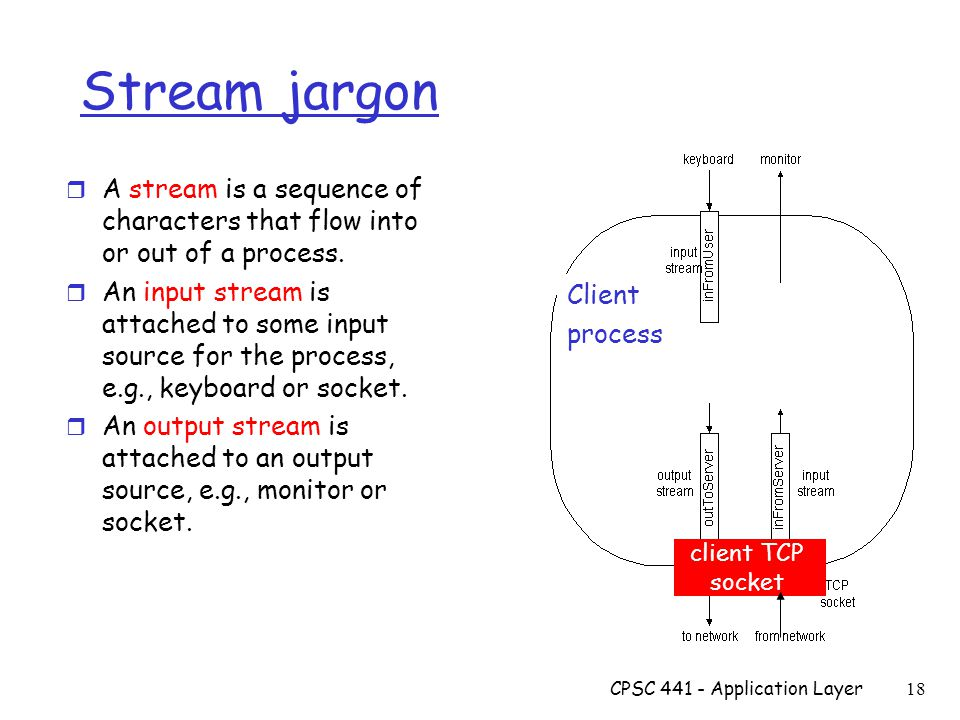 CPSC Application Layer 18 Client process client TCP socket Stream jargon r A stream is a sequence of characters that flow into or out of a process.