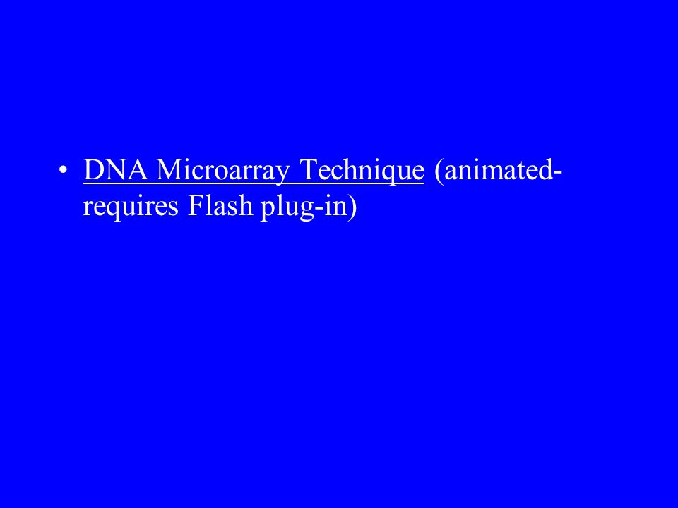 DNA Microarray Technique (animated- requires Flash plug-in)DNA Microarray Technique