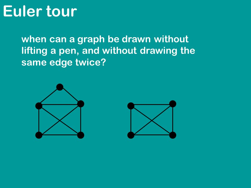 Euler tour when can a graph be drawn without lifting a pen, and without drawing the same edge twice