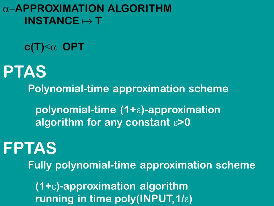 PTAS Polynomial-time approximation scheme polynomial-time (1+  )-approximation algorithm for any constant  >0 FPTAS Fully polynomial-time approximation scheme (1+  )-approximation algorithm running in time poly(INPUT,1/  )  APPROXIMATION ALGORITHM INSTANCE  T c(T)  OPT