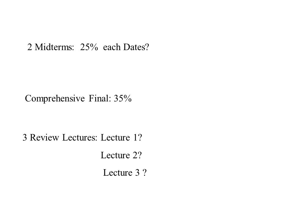 Comprehensive Final: 35% 2 Midterms: 25% each Dates.