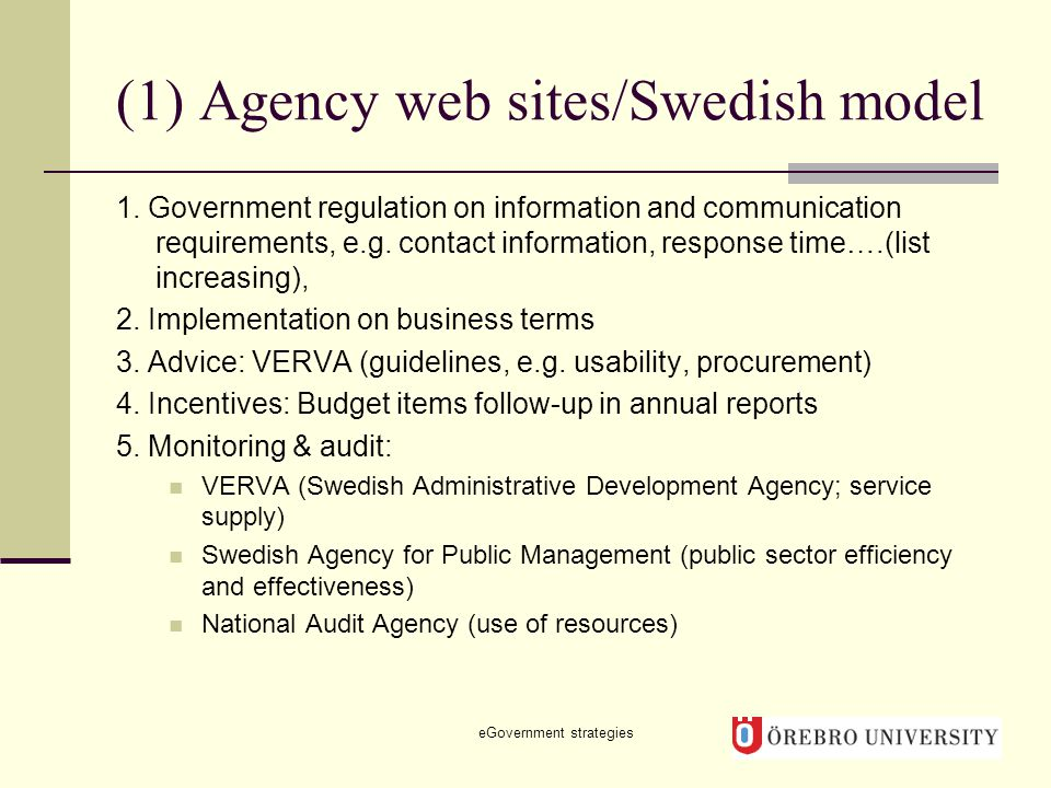 (1) Agency web sites/Swedish model 1.