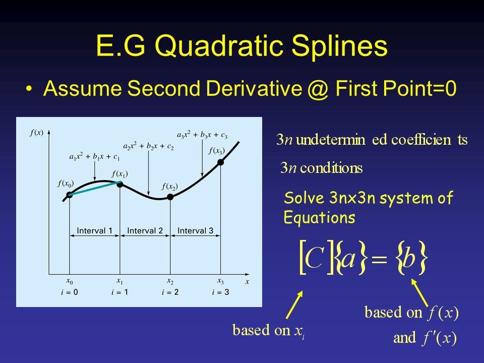 E.G Quadratic Splines Assume Second First Point=0 Solve 3nx3n system of Equations