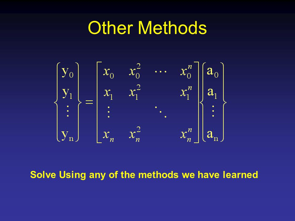 Other Methods Solve Using any of the methods we have learned