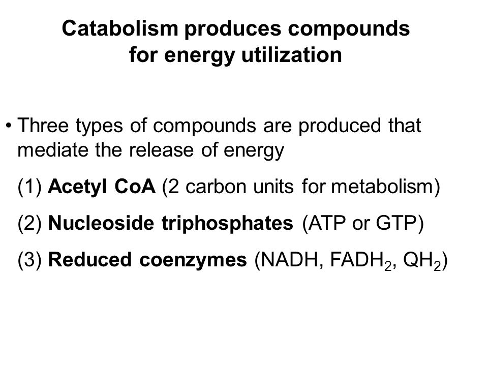 Prentice Hall c2002Chapter 1010 Catabolism produces compounds for energy utilization Three types of compounds are produced that mediate the release of energy (1) Acetyl CoA (2 carbon units for metabolism) (2) Nucleoside triphosphates (ATP or GTP) (3) Reduced coenzymes (NADH, FADH 2, QH 2 )