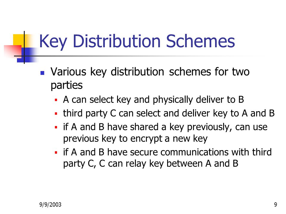 9/9/20039 Key Distribution Schemes Various key distribution schemes for two parties  A can select key and physically deliver to B  third party C can select and deliver key to A and B  if A and B have shared a key previously, can use previous key to encrypt a new key  if A and B have secure communications with third party C, C can relay key between A and B
