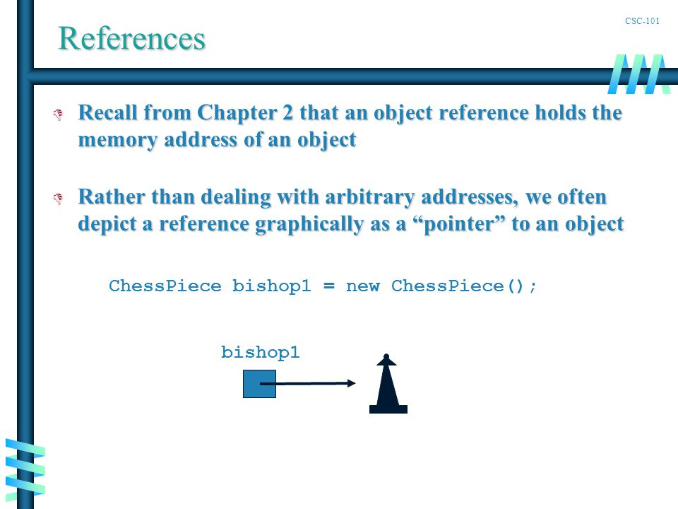 CSC-101References D Recall from Chapter 2 that an object reference holds the memory address of an object D Rather than dealing with arbitrary addresses, we often depict a reference graphically as a pointer to an object ChessPiece bishop1 = new ChessPiece(); bishop1