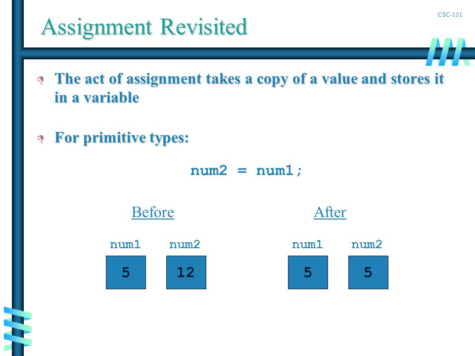 CSC-101 Assignment Revisited D The act of assignment takes a copy of a value and stores it in a variable D For primitive types: num2 = num1; Before num1 5 num2 12 After num1 5 num2 5