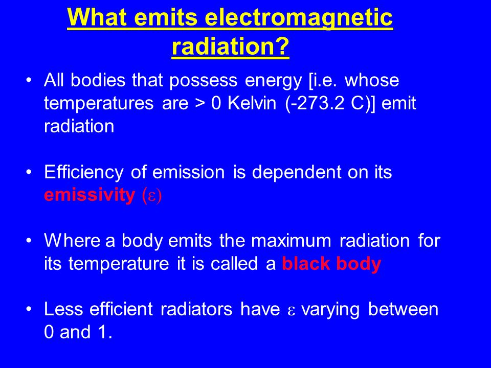 What emits electromagnetic radiation. All bodies that possess energy [i.e.
