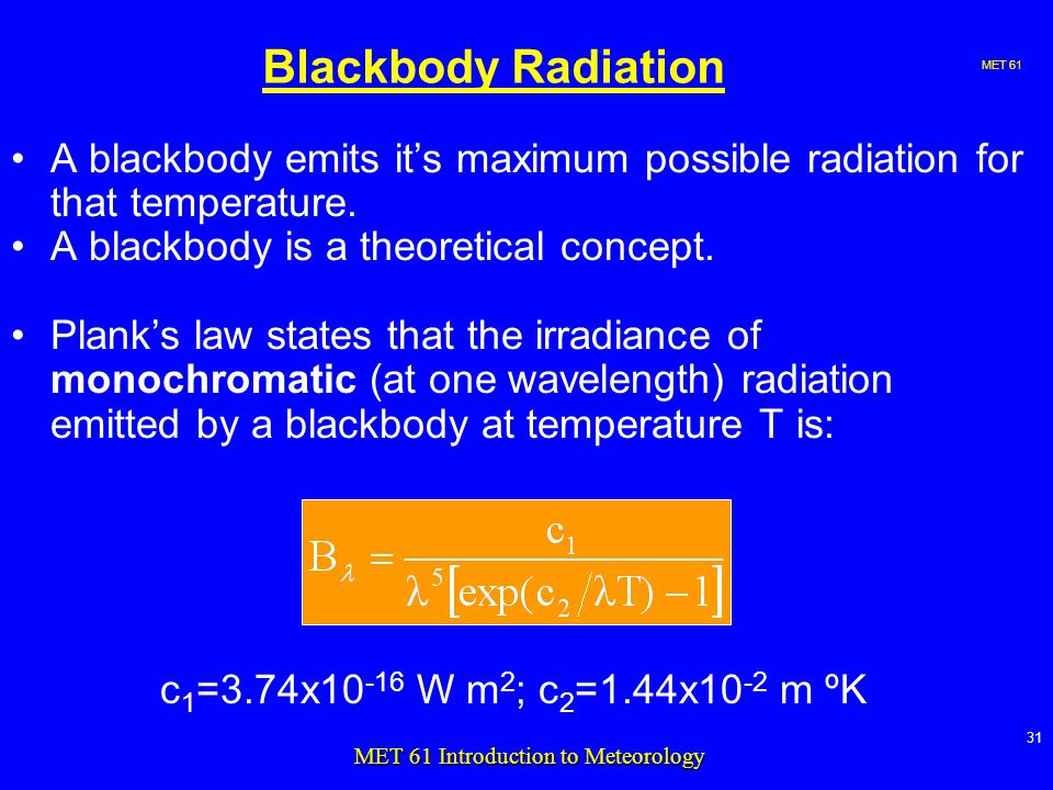 MET MET 61 Introduction to Meteorology Blackbody Radiation A blackbody emits it's maximum possible radiation for that temperature.
