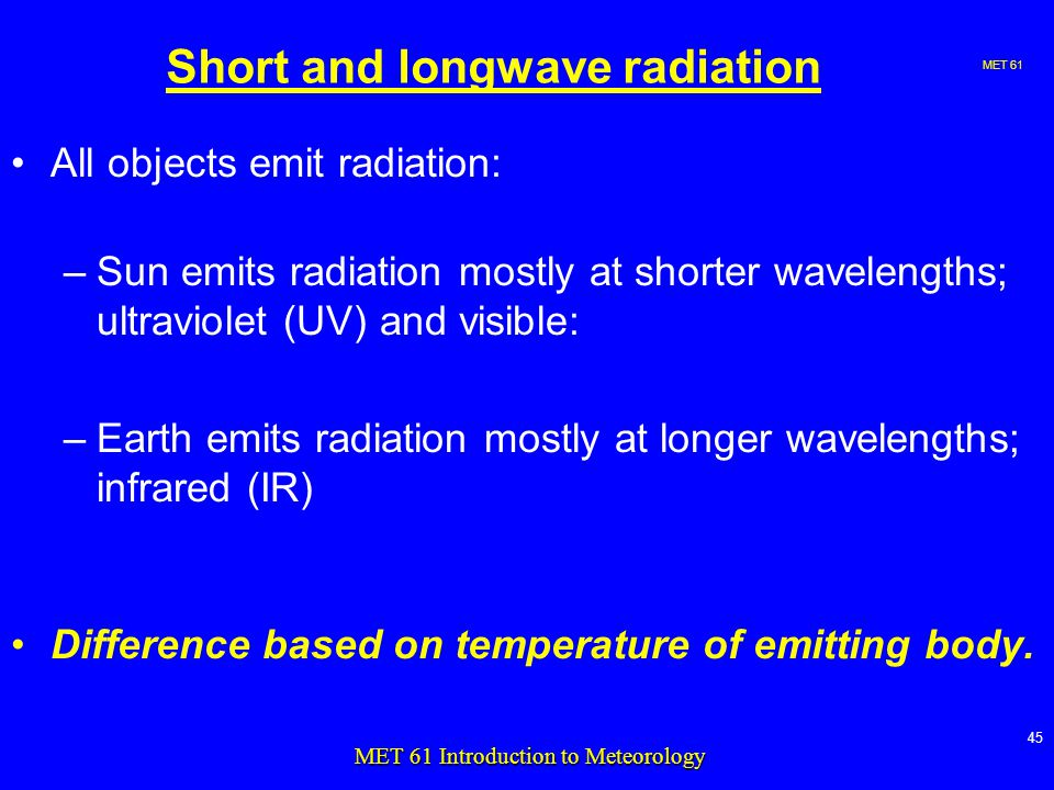 MET MET 61 Introduction to Meteorology Short and longwave radiation All objects emit radiation: –Sun emits radiation mostly at shorter wavelengths; ultraviolet (UV) and visible: –Earth emits radiation mostly at longer wavelengths; infrared (IR) Difference based on temperature of emitting body.